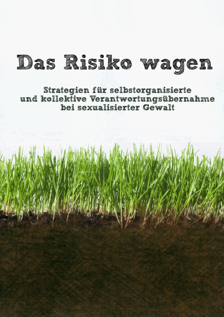 """Bild von grünen Gras und das braun Boden darunter mit dem Text: """"Das Risiko wagen. Strategien für selbstorganisierte und kollektive Verantowrtungsübernahme bei sexualisierter Gewalt"""""""