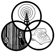 This image has drawings inside of three circles. In one circle are hands coming out of and holding prison bars. In another circle is a radio tower emitting radio waves. In the third circle there is a rotary phone.
